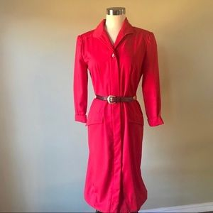 Vintage Red Button Down Secretary Midi Dress